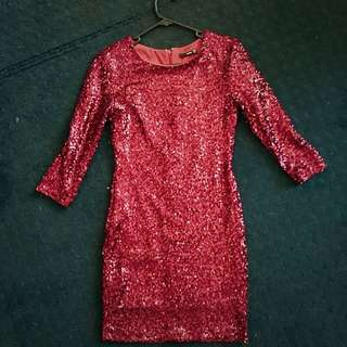 Sequin Burgundy Body Con Dress Size 8