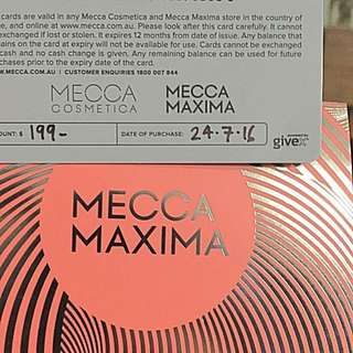 Mecca Gift Card Valued At 199
