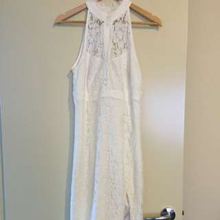 White Lacey Bardot Dress Size 10