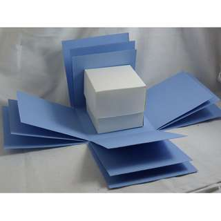 Exploding Box Shell with BONUS Gift BOX - DIY decorating - Blue Explosion Box