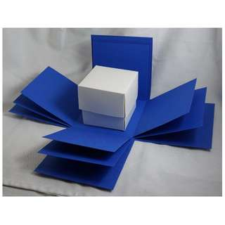 Exploding Box Shell with BONUS Gift BOX - DIY decorating - Dark Blue Explosion Box