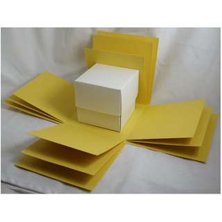 Exploding Box Shell with BONUS Gift BOX - DIY decorating - Mustard Yellow Explosion Box