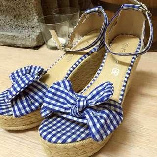 藍格蝴蝶結繫帶厚底楔型涼鞋