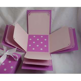 Pink Polka Dot Explosion Box - Exploding Box - Photo Box - Memories Box