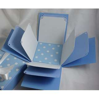 Blue Polka Dot Explosion Box - Exploding Box - Photo Box - Memories Box