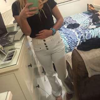 Petite Size 6 White Highwaisted Flair Bottom Jeans