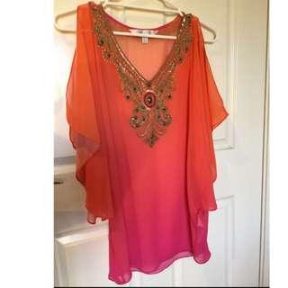 Ana Embellished ombré kaftan' -orange/pink