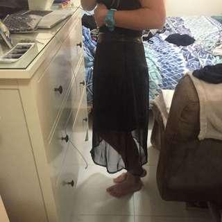 UK 8 Midi Skirt Pleather And Meshing