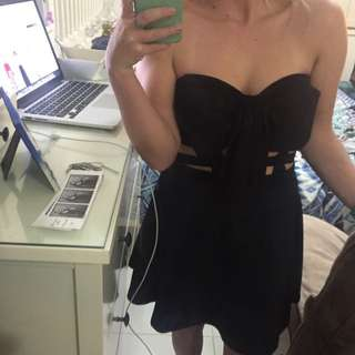 Size Small Black Strapless Caged Dress