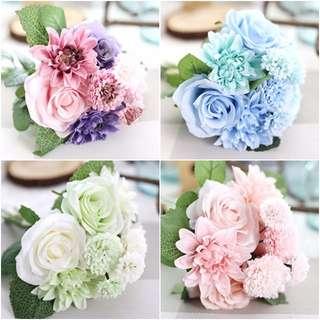 法式人造玫瑰大理花束 仿玫瑰捧花 婚禮花藝 居家擺飾 拍照道具