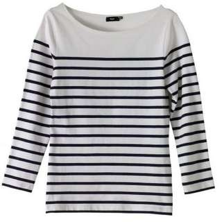 H&M Black & White Long Sleeve Striped Top