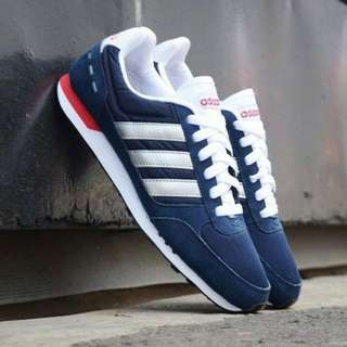 "Sepatu Adidas Neo City Racer ""Midnight Navy-White Red"""
