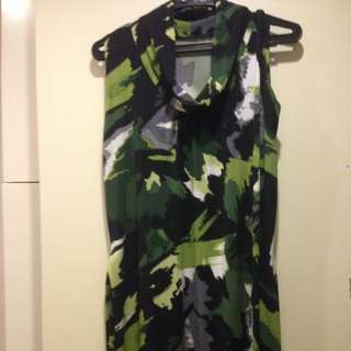 Green and Black Jersey Dress