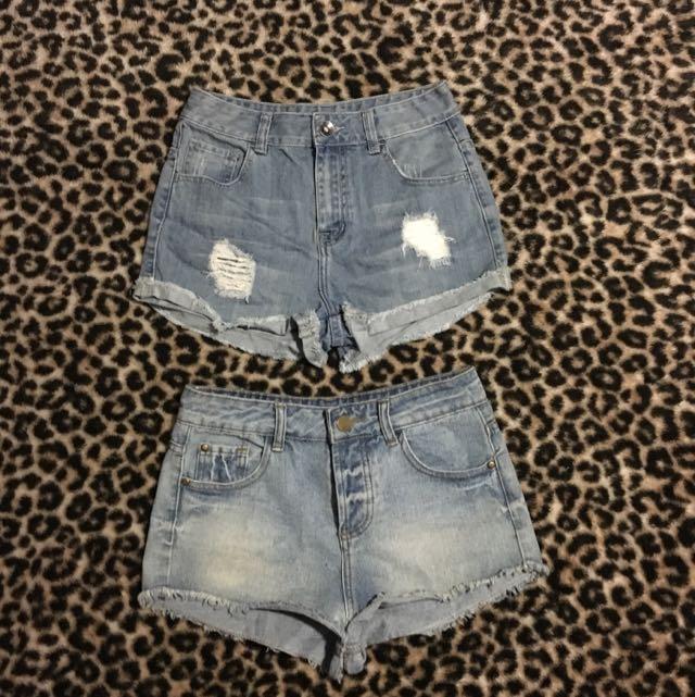 2 Pairs Denim Shorts