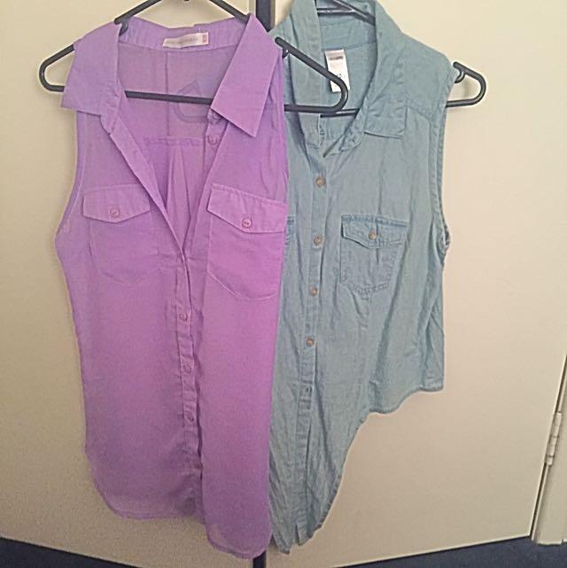 2 x Sleeveless Shirt Tops Pastel Mauve & Denim