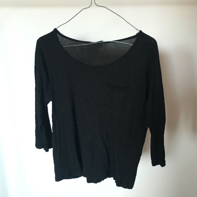 3/4 Sleeve Black Top
