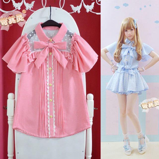 新款愛心點點網紗蝴蝶結荷葉袖蘿莉格子雪紡襯衫
