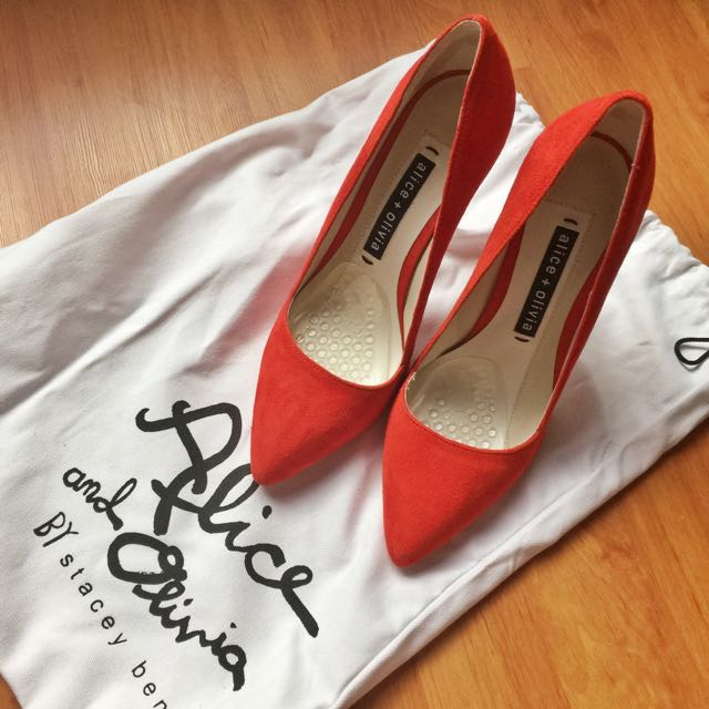 Alice and olivia High Heel Shoes suede red dina