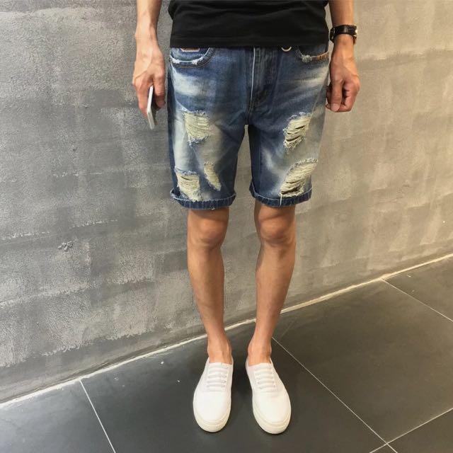 Allenciao*夏裝新款 潮流複古水洗牛仔短褲 刺繡牛仔褲 破洞牛仔短褲
