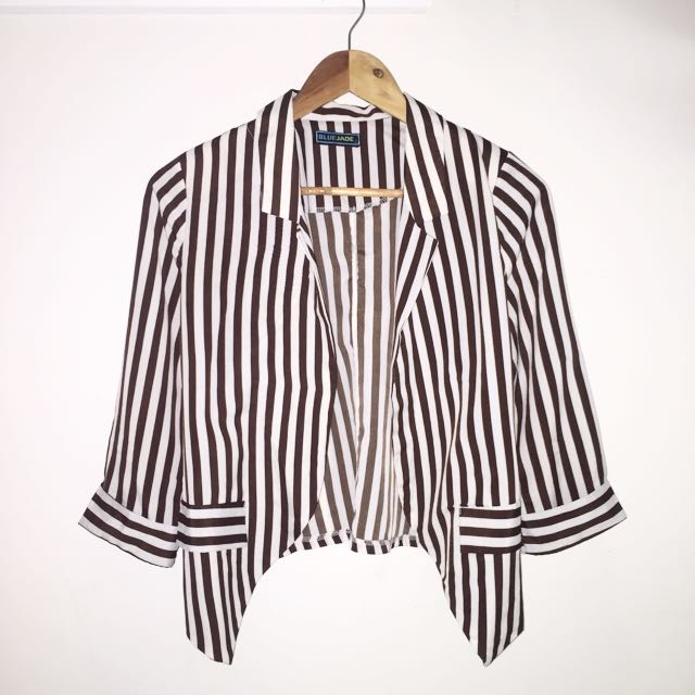 Brown & White Stripe Blazer