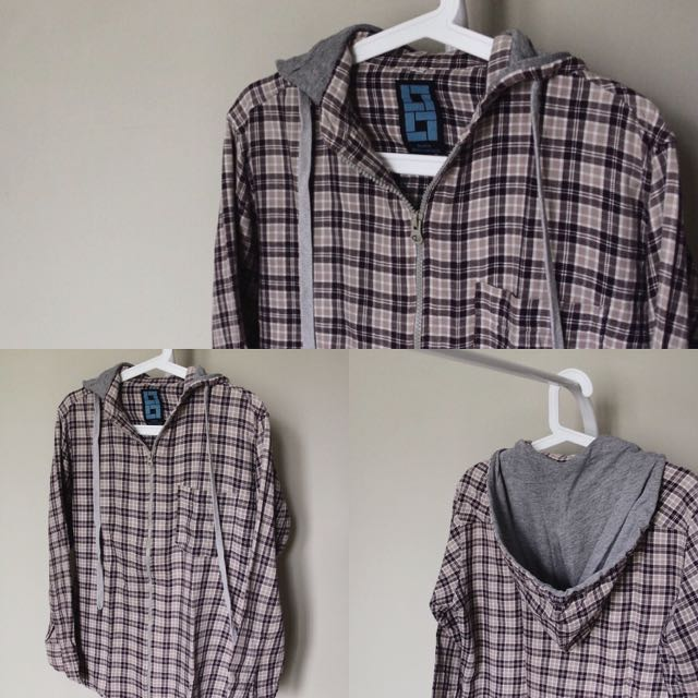 Brown Checkered Hoodie