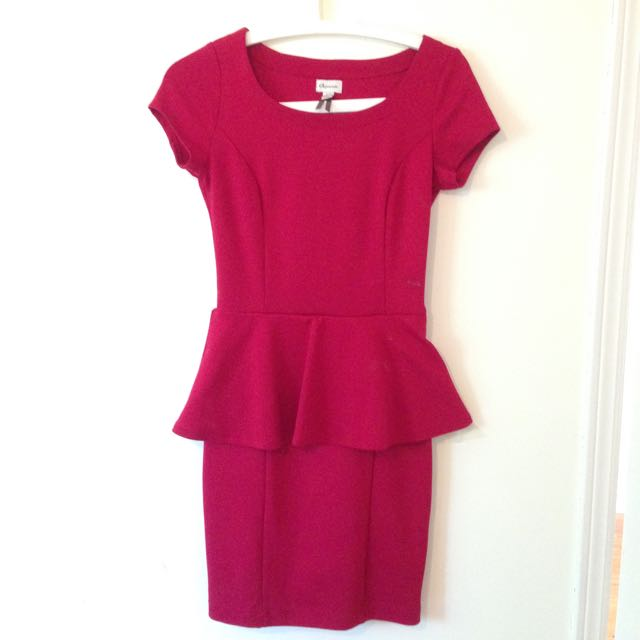 Dynamite Burgundy Peplum Dress