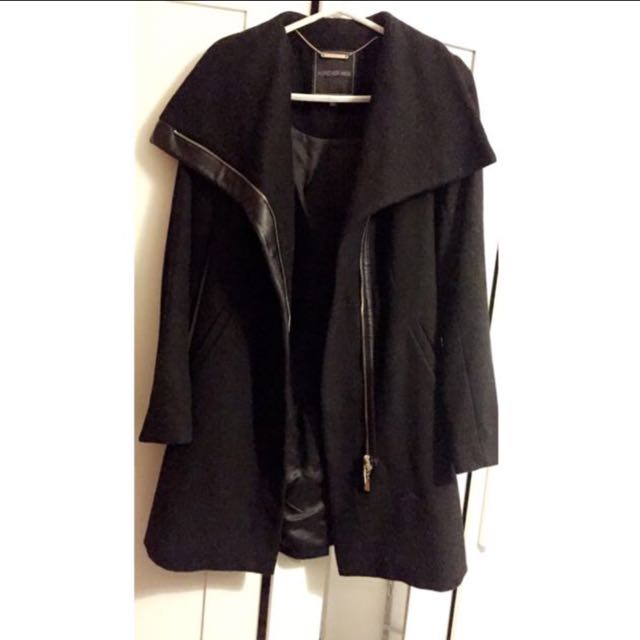Forever New Black Wool Silk Leather Biker Waterfall Coat Size 6