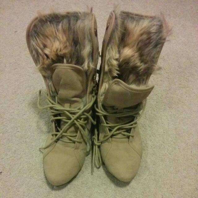 Furry Suede Ankle Boots
