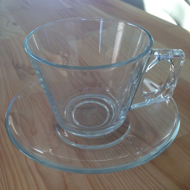 Reduced! Glass Coffee Cups With Saucers