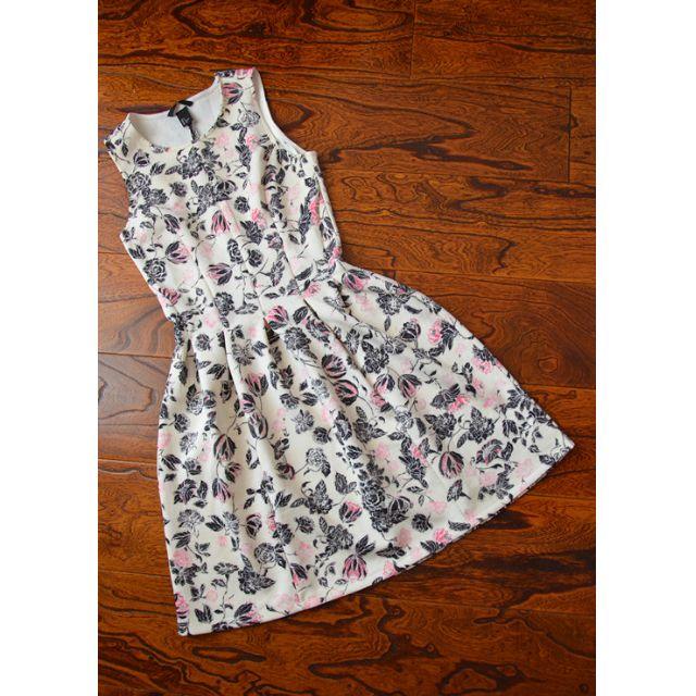 H&M太空棉碎花洋裝圓裙短洋裝