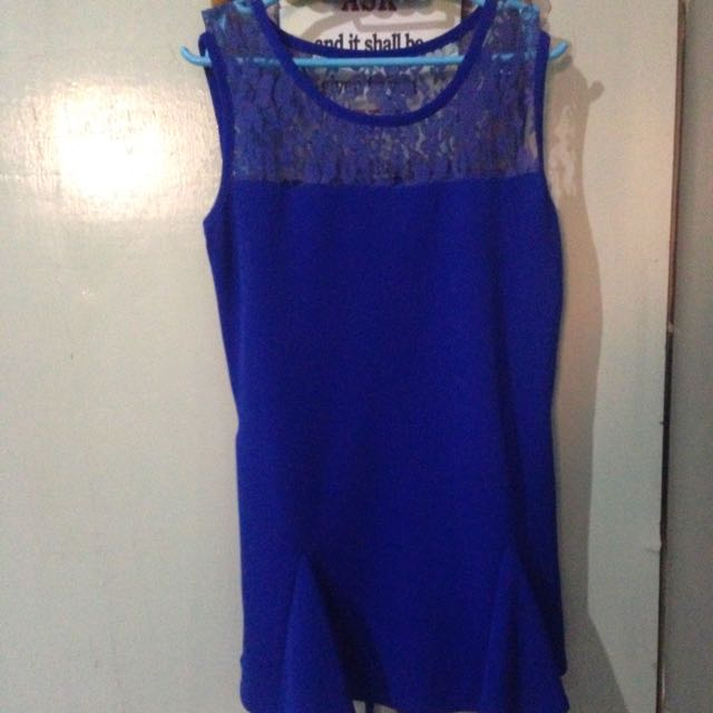 Lace Peplum Blouse (royal Blue)