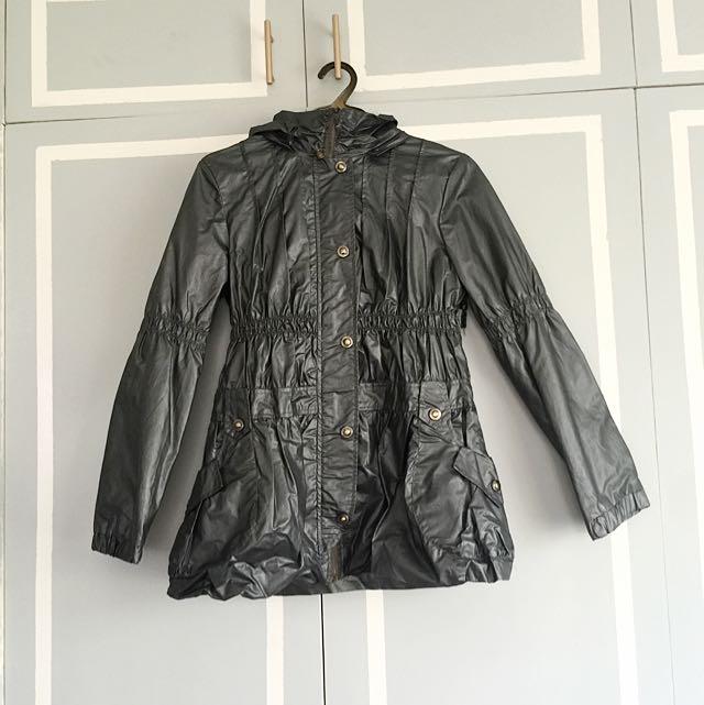 Metallic Gray Raincoat