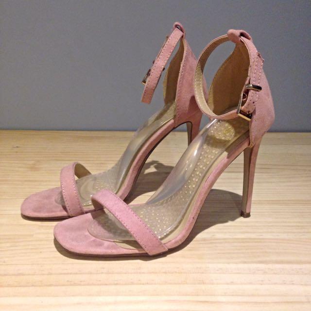 Missguided Dusty Rose Suede Minimal Stilettos