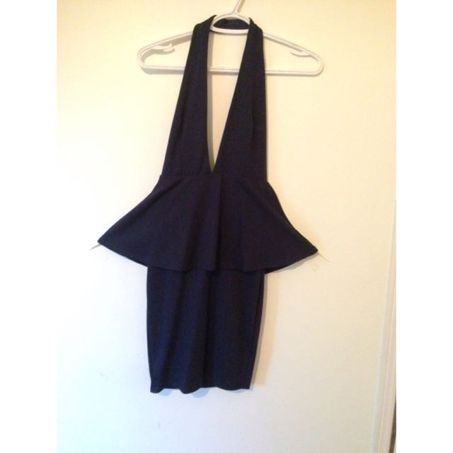 Nasty Gal Deep V Peplum Dress