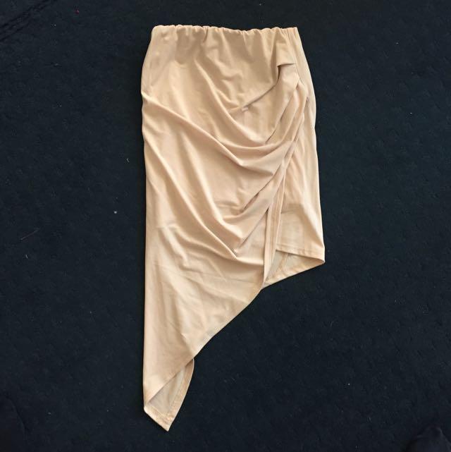 Nude/Beige Pop Cherry Asymmetrical Skirt