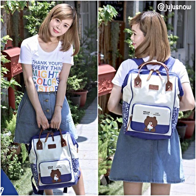 Rare! Sanrio Hello Kitty x LINE Friends Blue Anello-style Backpack ... c32b63e955c29