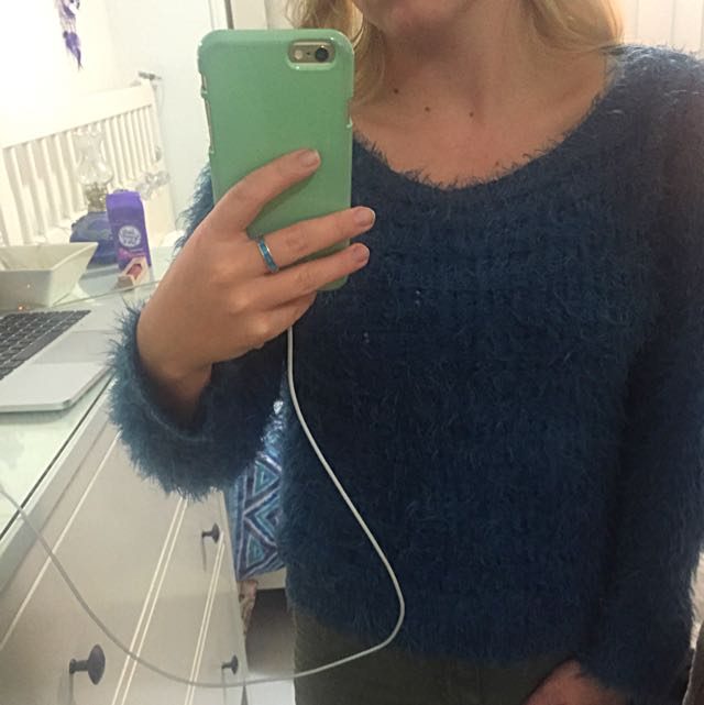 Size 6 Fluffy Teal Jumper