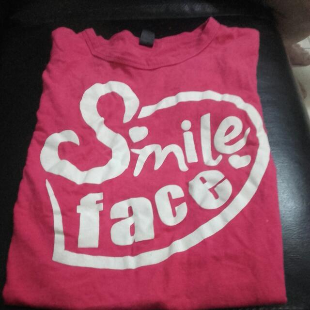 smileface 桃紅色T