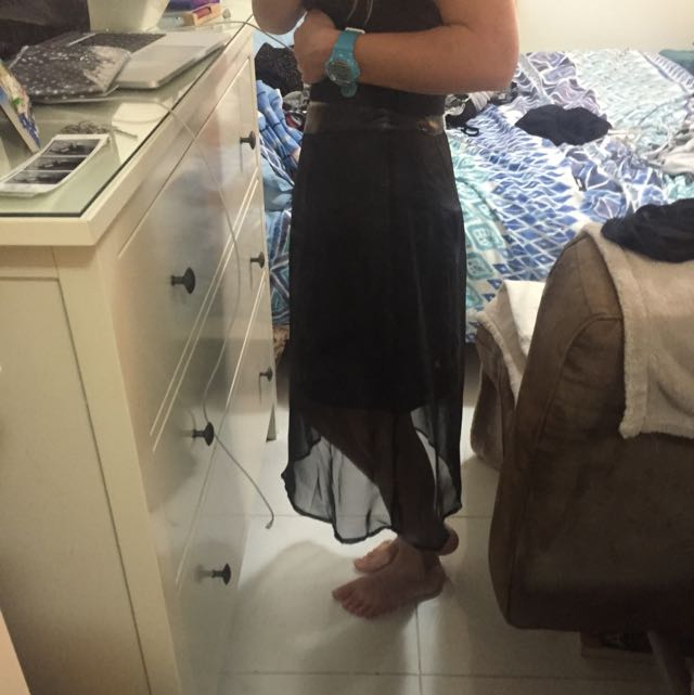 UK 8 Midi Skirt Pleather And Meshing