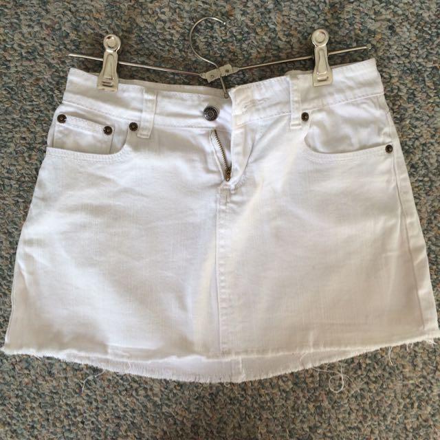 White Denim Mini Skirt Size 8