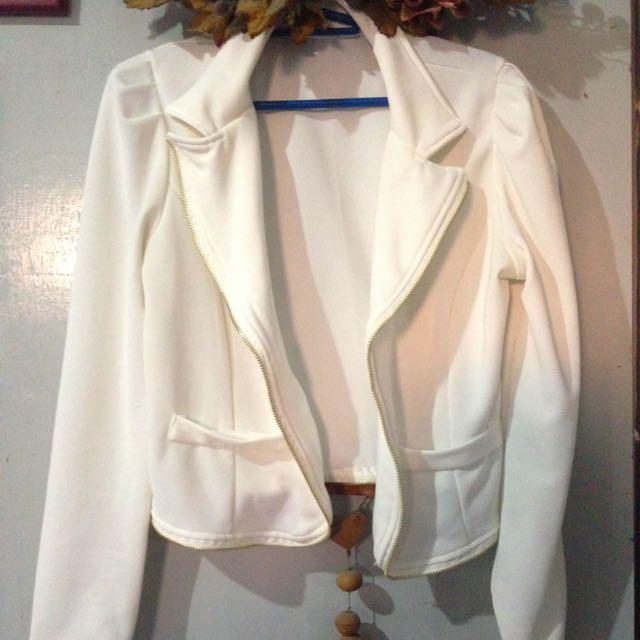 White Zipper Detailed Blazer 💖