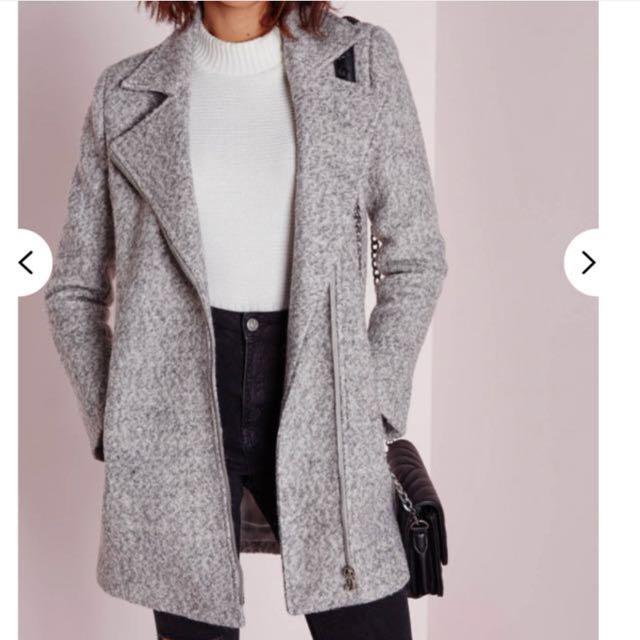 Wool biker Missguided coat grey marl size 4 6