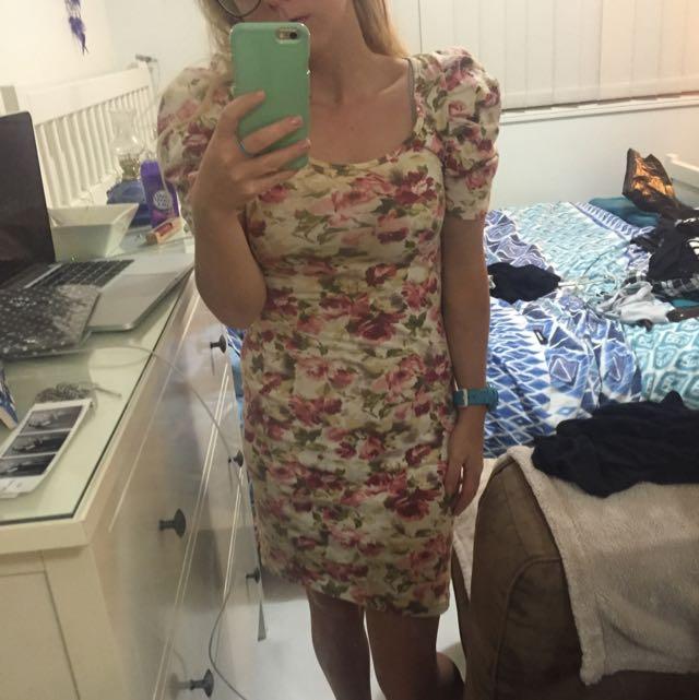 XS Mink Pink Floral Dress