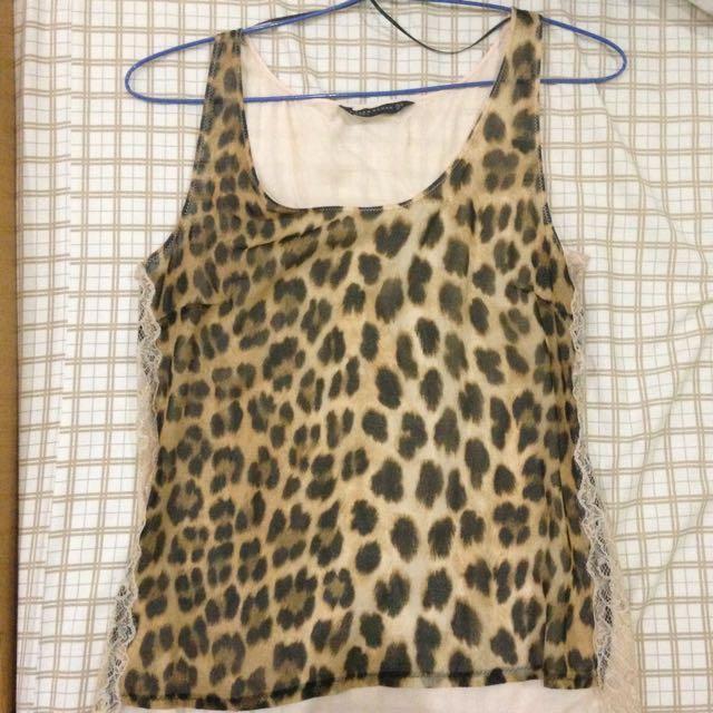 Zara Leopard Top Size M