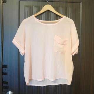 現貨雪紡粉色氣質罩衫 微透 短袖 夏天 少女