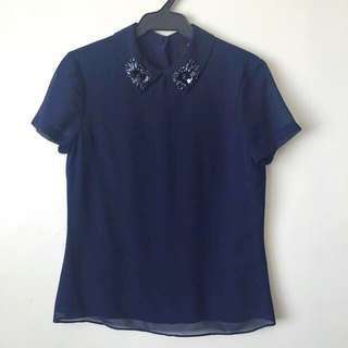 Ever New Chiffon Top With Beaded Collar