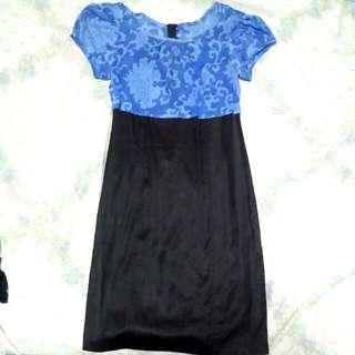 Black And Blue Mango Dress