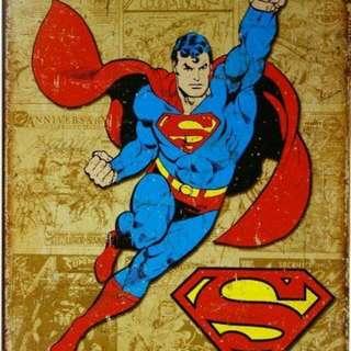 Superman Vintage Tin Metal Sign DC Comics Superhero Collectible 12.5x16