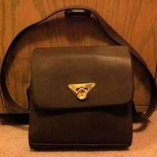 Leather Bag Brown With Golden Latch