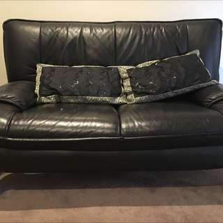 2 X Leather Double Seated Sofa In Black